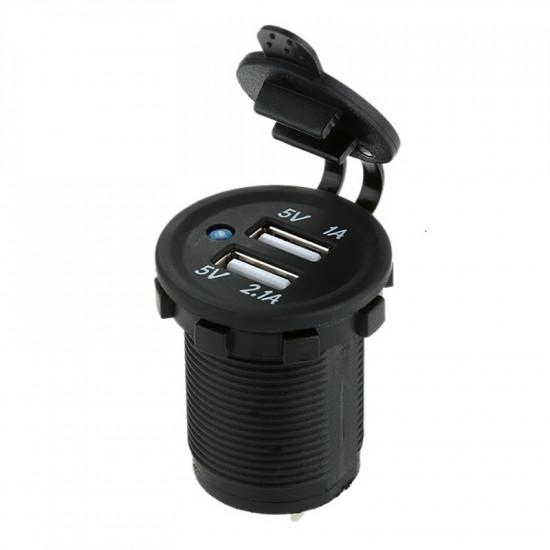 USB Зарядка для транспорта 2USB 3.1A голубая подсветка DEKART TUC-CA23-BLK-BLU