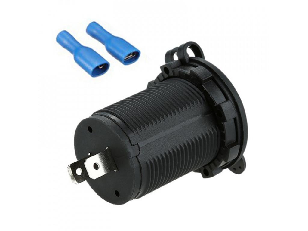 Usb разъем для вагона метро USB Зарядка для транспорта 2USB 3.1A голубая подсветка DEKART TUC-CA23-BLK-BLU
