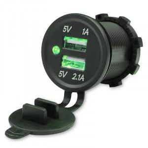 USB Зарядка для транспорта 2USB 3.1A зеленая подсветка TUC-CA23-BLK-GRN