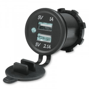 USB Зарядка для транспорта 2USB 3.1A белая подсветка TUC-CA23-BLK-WHT