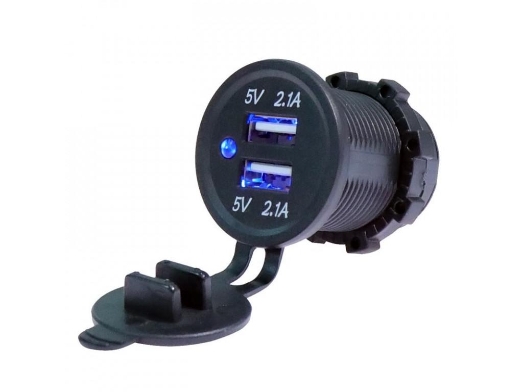 USB зарядка для общественного транспорта TUC-CA24-BLK-BLU