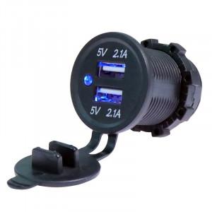 USB Зарядка для транспорта 2USB 4.2A голубая подсветка TUC-CA24-BLK-BLU