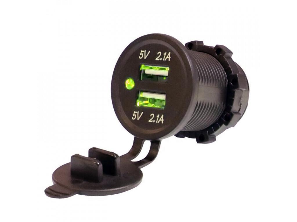 Usb зарядник в транспорт TUC-CA24-BLK-GRN