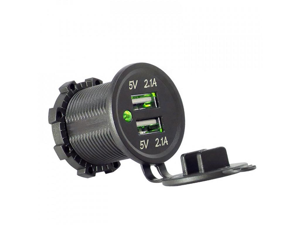 Usb в автомобили USB Зарядка для транспорта 2USB 4.2A зеленый индикатор TUC-CA24-BLK-GRN