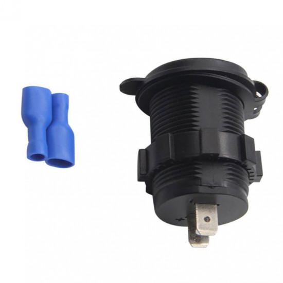 USB Зарядка для транспорта 2USB 4.2A зеленый индикатор TUC-CA24-BLK-GRN