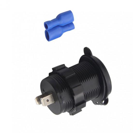 USB Зарядка для транспорта 2USB 4.2A красный индикатор TUC-CA24-BLK-RED