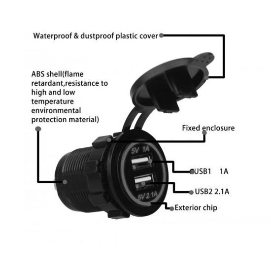USB Зарядное устройство в транспорт 2USB 3.1A синяя подсветка TUC-CB23-BLK-BLU