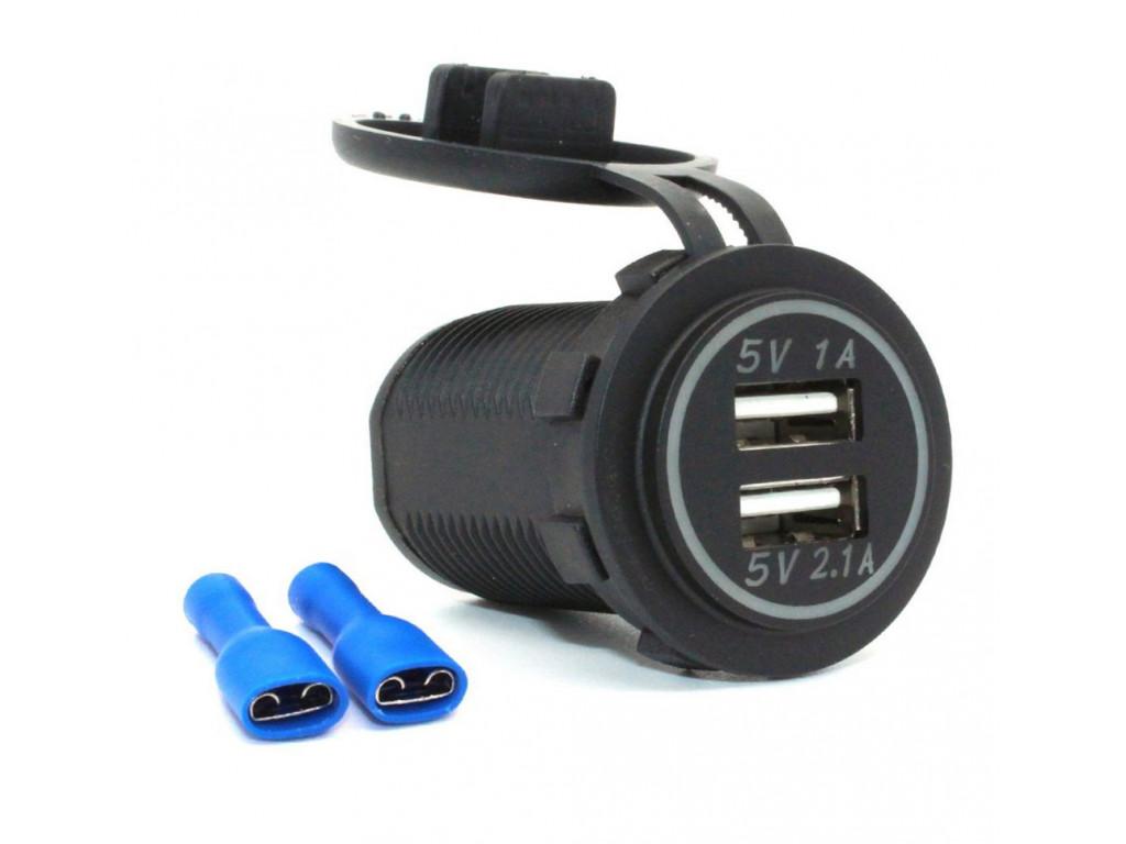 Usb зарядная точка для поезда USB Зарядное устройство в транспорт 2USB 3.1A зеленая подсветка TUC-CB23-BLK-GRN