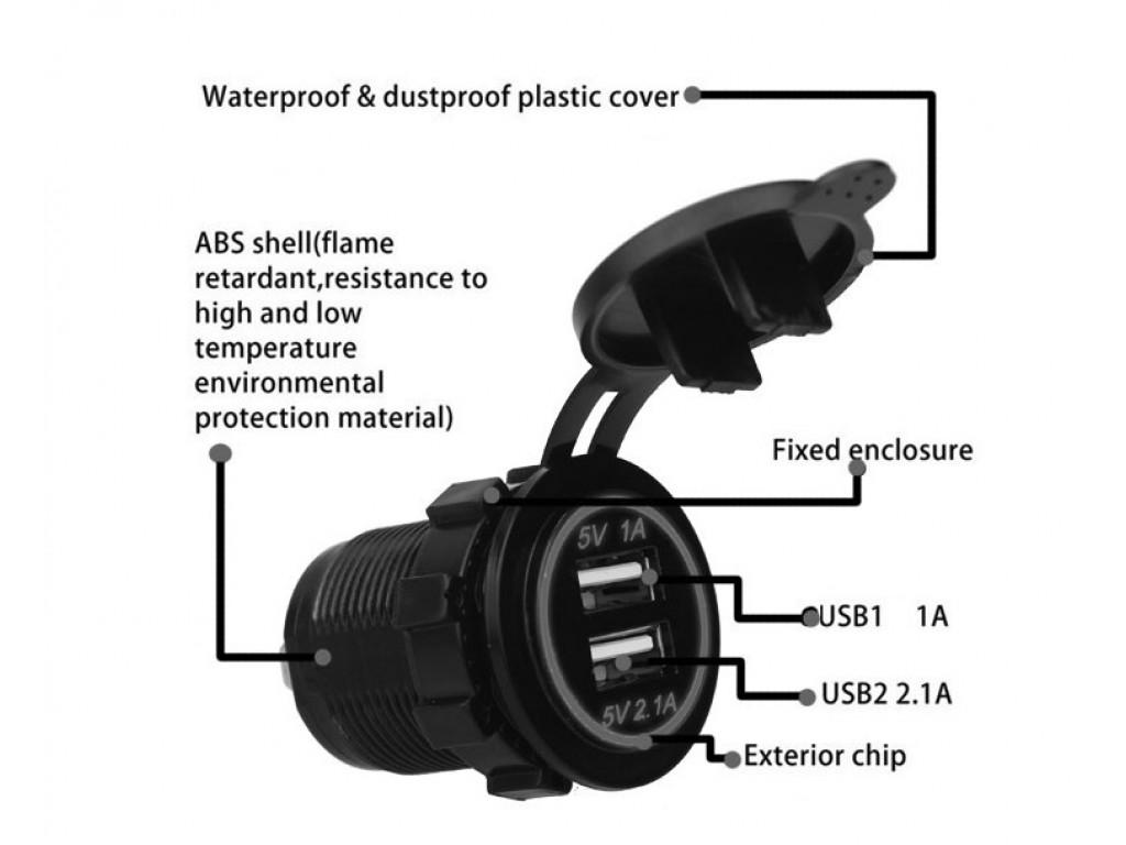 Usb адаптер на квадроцикл Dekart TUC-CB23-BLK-GRN