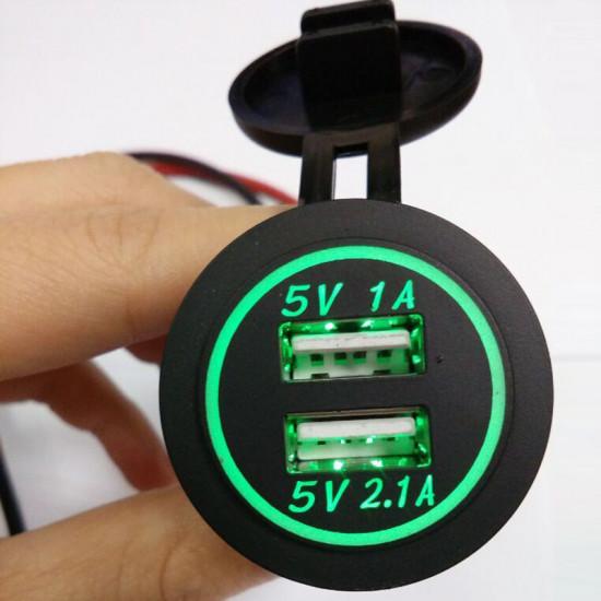 USB Зарядное устройство в транспорт 2USB 3.1A зеленая подсветка TUC-CB23-BLK-GRN