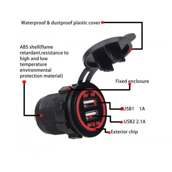 USB Зарядное устройство в транспорт 2USB 3.1A красная подсветка TUC-CB23-BLK-RED