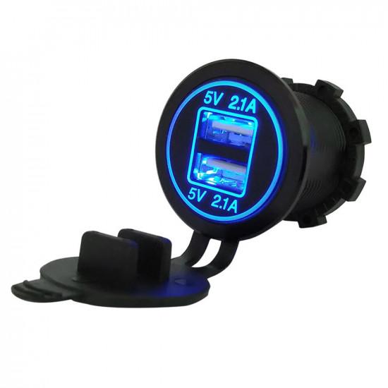 USB Зарядка для транспорта 2USB 4.2A голубая подсветка TUC-CB24-BLK-BLU