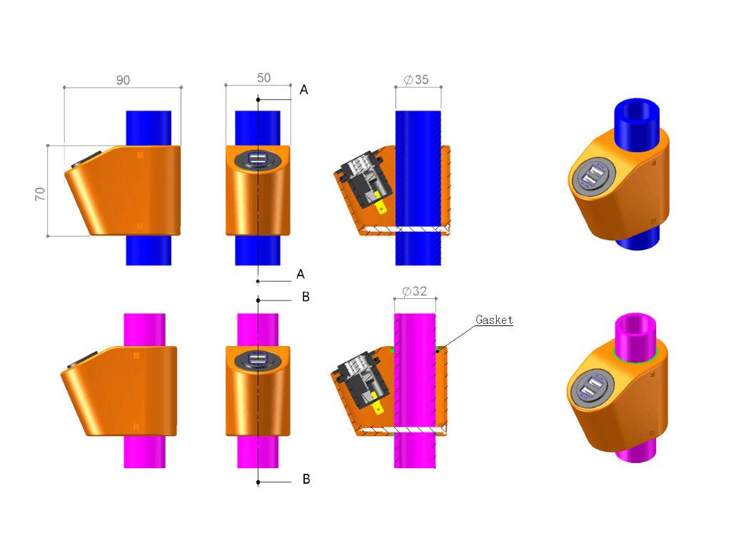 держатель на поручень Крепление USB зарядного устройства на поручень в транспорте синий TUC-HLD-HR01-BLU