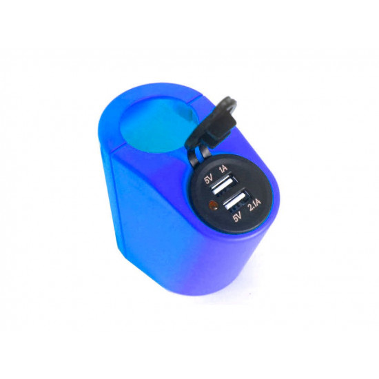 Крепление USB зарядного устройства на поручень в транспорте синий TUC-HLD-HR01-BLU