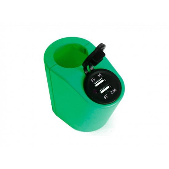 Держатель USB зарядного устройства на поручень в транспорте зеленый TUC-HLD-HR01-GRN