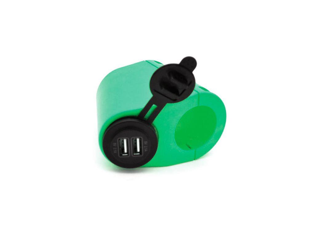 usb розетка на трубу Держатель USB зарядного устройства на поручень в транспорте зеленый TUC-HLD-HR01-GRN