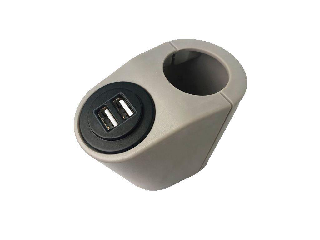 Держатель на поручень Крепление USB зарядного устройства на поручень в транспорте серый TUC-HLD-HR01-GRY