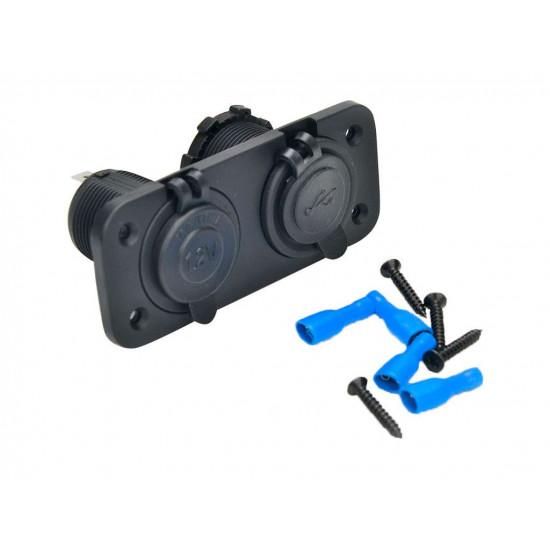 Установочная панель с 2 отверстиями для USB зарядок и гнезд питания TUC-HLD-PN02-BLK
