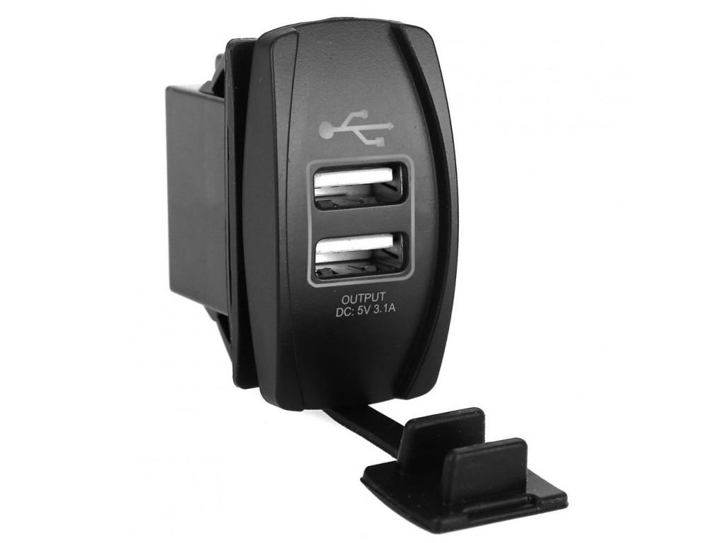 Usb разъем в автомобилях USB розетка в транспорт 2 USB 3.1A голубая подсветка TUC-RA23-BLK-BLU