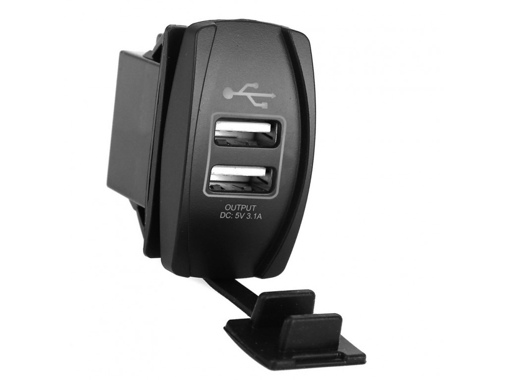 Usb модуль для автобусов USB розетка в транспорт 2 USB 3.1A зеленая подсветка TUC-RA23-BLK-GRN