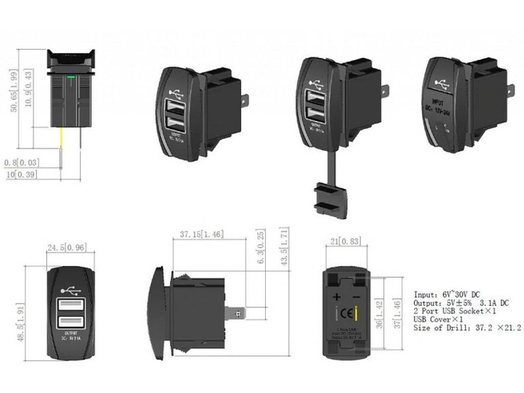 Usb зарядное устройство для мотоцикла Dekart TUC-RA23-BLK-GRN