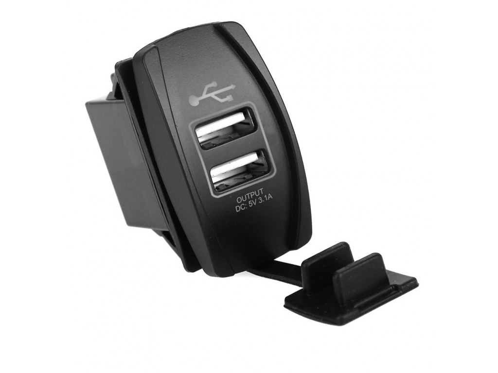 Usb зарядка для внедорожника USB розетка в транспорт 2 USB 3.1A красная подсветка TUC-RA23-BLK-RED