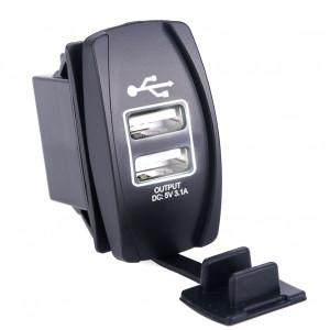 USB розетка в транспорт 2 USB 3.1A белая подсветка TUC-RA23-BLK-WHT