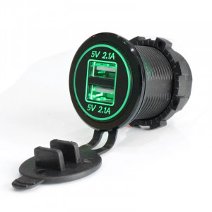USB Зарядка для транспорта 2USB 4.2A зеленая подсветка TUC-CB24-BLK-GRN