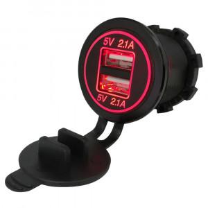 USB Зарядка для транспорта 2USB 4.2A красная подсветка TUC-CB24-BLK-RED