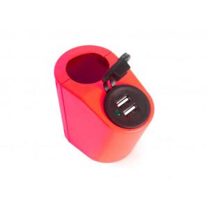 Кронштейн для USB зарядки на поручень в транспорте красный TUC-HLD-HR01-RED