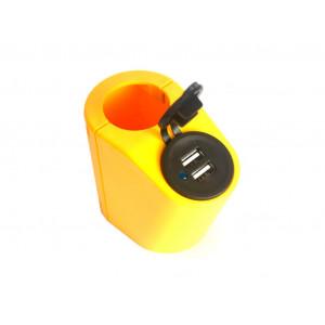 Держатель USB зарядного устройства на поручень в транспорте желтый TUC-HLD-HR01-YLW