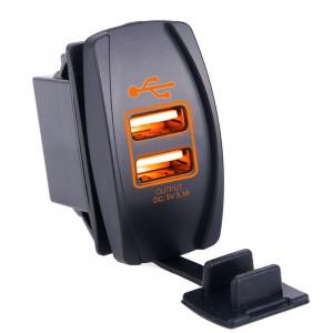 USB розетка в транспорт 2 USB 3.1A оранжевая подсветка TUC-RA23-BLK-ORG